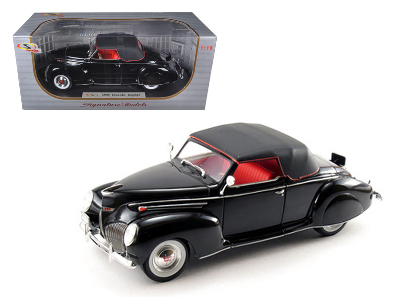 1939 Lincoln Zephyr Black 1/18 Diecast Model Car by Signature Models