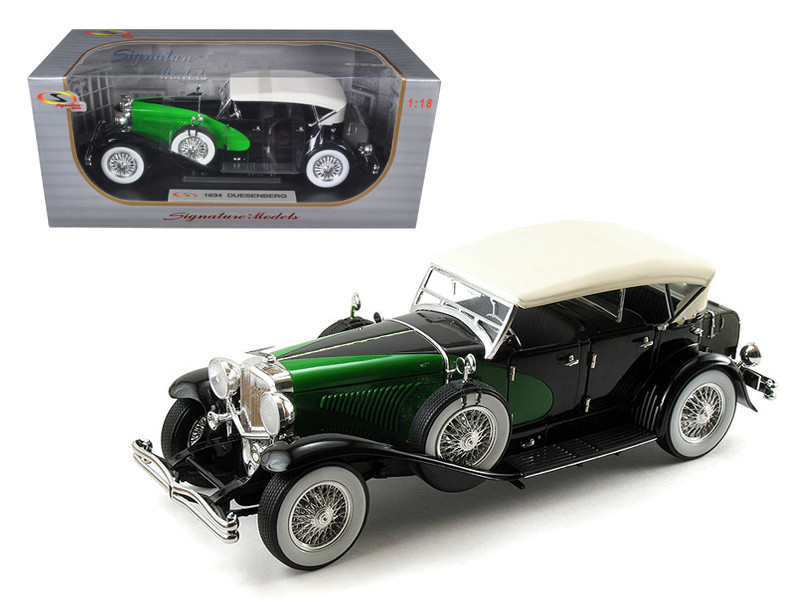 1934 Duesenberg Model J Black/Green 1/18 Diecast Model Car Signature Models 18110