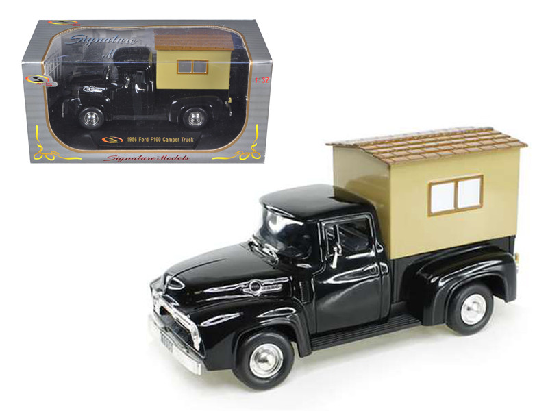 Ford F  Pickup Truck Black With Camper  Cast Model Car