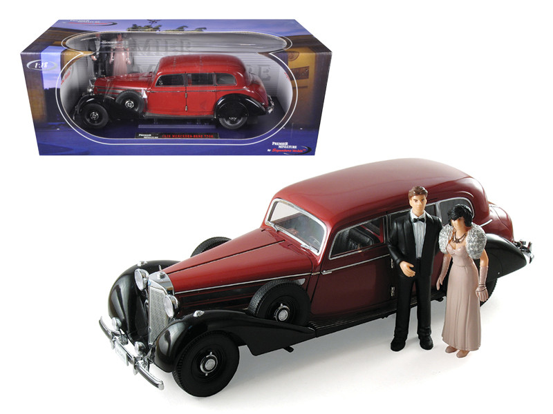 1938 Mercedes 770K Burgundy With 2 Figures Bride And Groom 1/18 Diecast Car Model by Signature Models