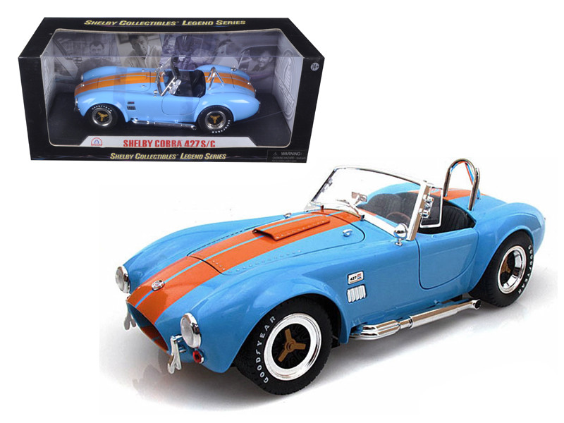 1965 Shelby Cobra 427 S/C Blue With Orange Stripes 1/18 Diecast Model Car by Shelby Collectibles