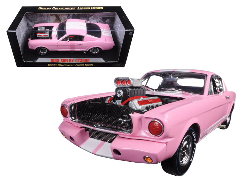 1965 Ford Shelby Mustang GT 350R Pink with White Stripes with Racing Engine 1/18 Diecast Model Car Shelby Collectibles SC176