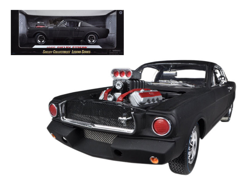 1965 Ford Shelby Mustang GT350R With Racing Engine Matt Black 1/18 Diecast Car Model Shelby Collectibles SC178