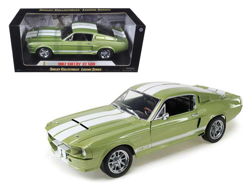 1967 Ford Shelby Mustang GT 500 Green With White Stripes 1/18 Diecast Model Car Shelby Collectibles SC186