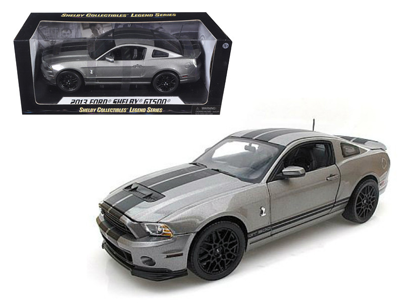 2013 Ford Shelby Mustang Cobra GT500 Grey With Black Stripes 1/18 Diecast Model Car Shelby Collectibles SC395