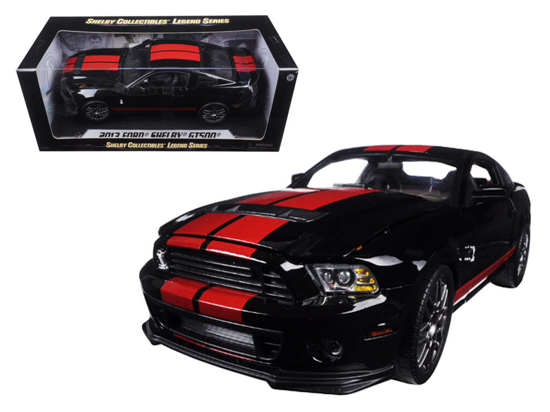 2013 Ford Shelby Mustang Cobra GT500 SVT Black with Red Stripes 1/18 Diecast Model Car Shelby Collectibles SC399