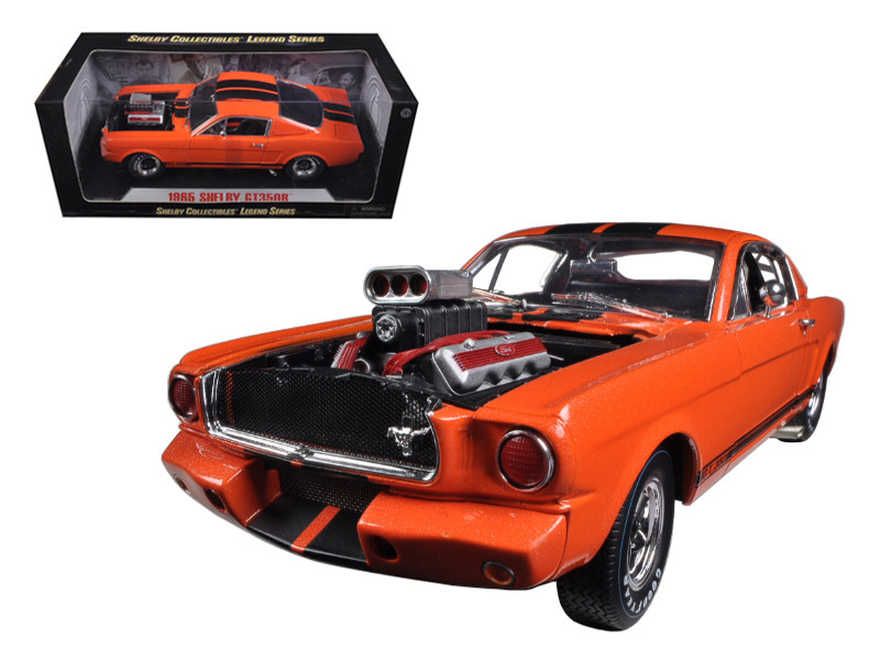 1965 Ford Shelby Mustang GT350R With Racing Engine Orange With Black Stripes 1/18 Diecast Car Model Shelby Collectibles SC514