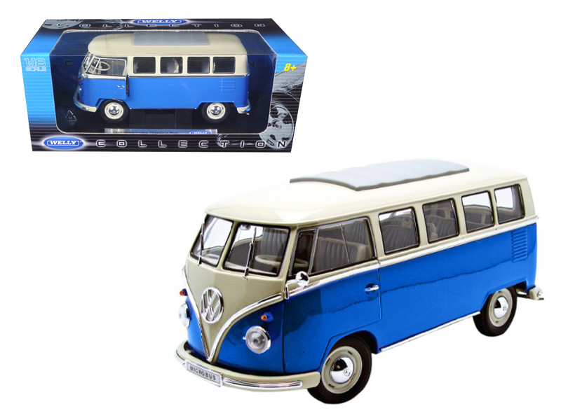 1962 Volkswagen Microbus Blue 1/18 Diecast Car Welly 12531