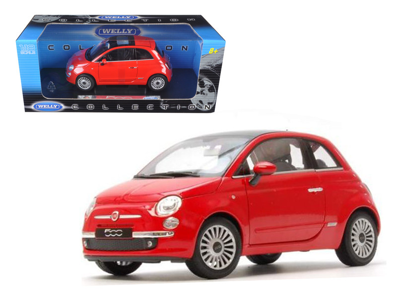 2007 Fiat 500 Red 1/18 Diecast Car Model by Welly