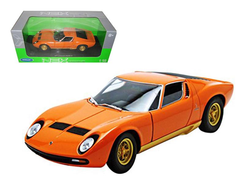 1971 Lamborghini Miura P400 Orange 1/18 Diecast Model Car by Welly