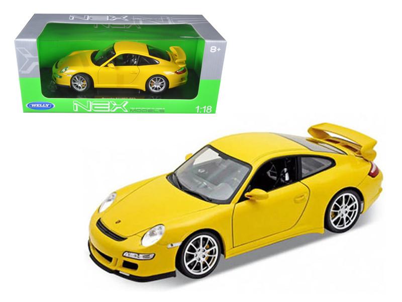 Porsche 911 (997) GT3 Yellow 1/18 Diecast Car Model Welly 18024