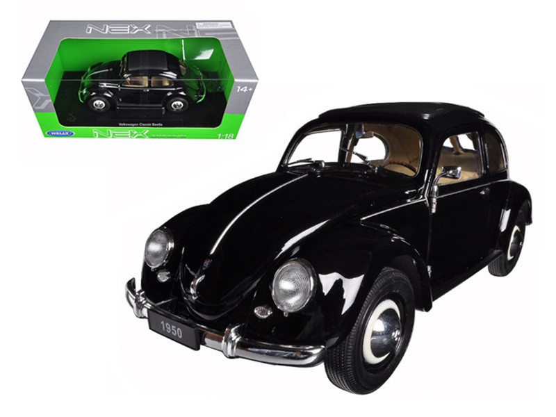 1950 Volkswagen Classic Old Beetle Split Window Black 1/18 Diecast Model Car by Welly
