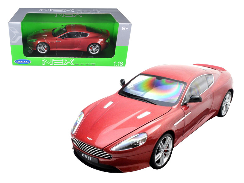 Aston Martin DB9 Coupe Burgundy 1/18 Diecast Car Model by Welly