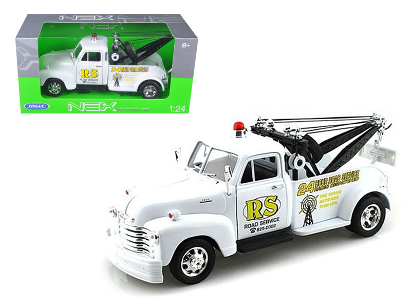 """1953 Chevrolet 3800 Tow Truck White """"Road Service"""" 1/24 Diecast Model Welly 22086"""