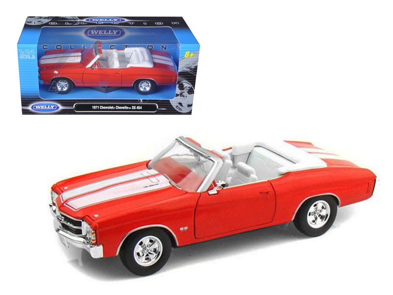 1971 Chevrolet Chevelle SS 454 Convertible Orange 1/24 Diecast Model Car Welly 22089
