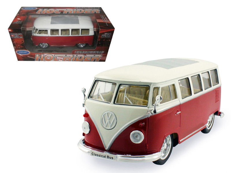 1962 Volkswagen Classical Bus Low Rider Red 1/24 Diecast Car Model Welly 22095