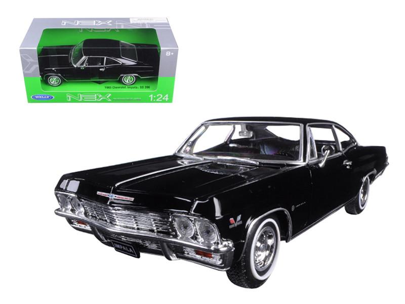 1965 Chevrolet Impala SS 396 Black Street Car 1/24 Diecast Car Model Welly 22417