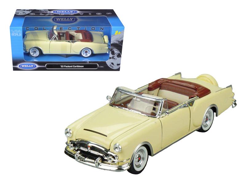 1953 Packard Caribbean Convertible Cream 1/24 Diecast Car Model by Welly