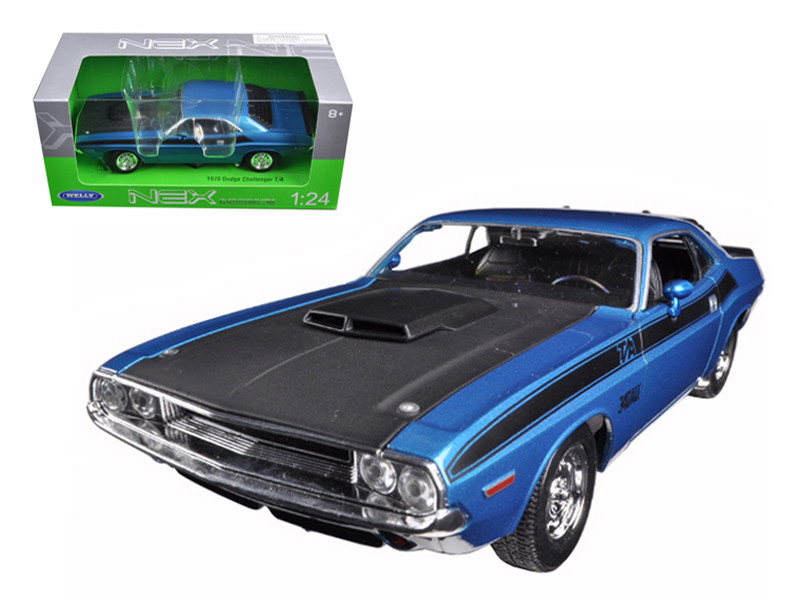 1970 Dodge Challenger T/A Blue 1/24 Diecast Model Car Welly 24029