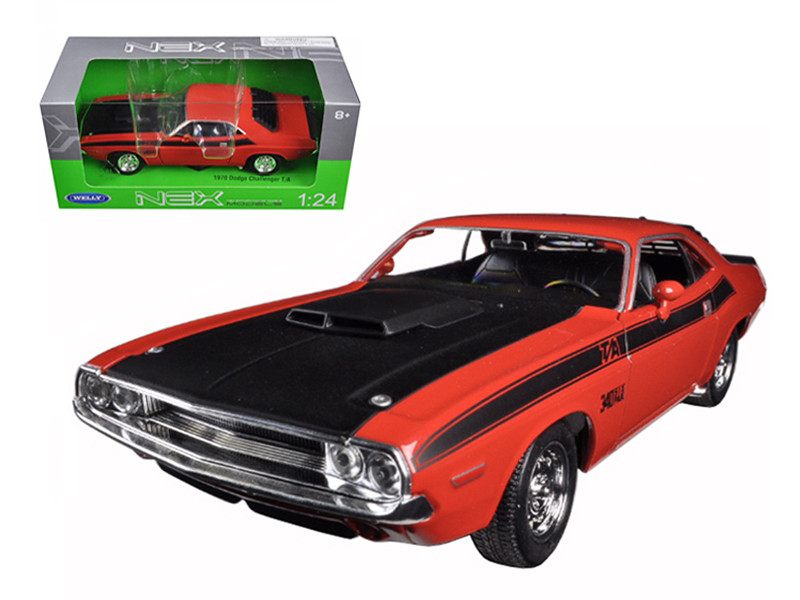 1970 Dodge Challenger T/A Orange 1/24 Diecast Model Car Welly 24029