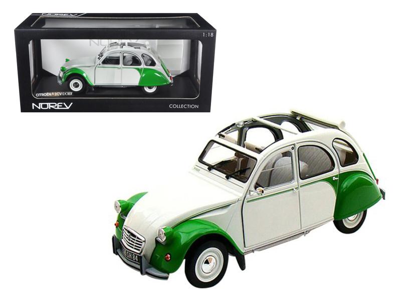 1985 Citroen 2CV Dolly White/Green 1/18 Diecast Model Car Norev 181512