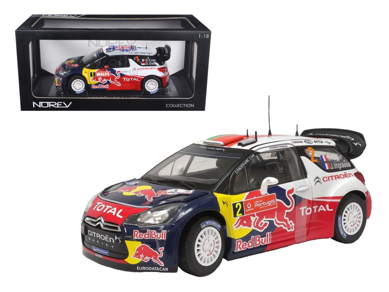 "Citroen DS3 #1 WRC World Champion Rally Great Britain 2011 Loeb/Elena \Red Bull"" 1/18 Diecast Model Car by Norev"""""""