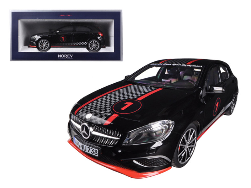 2013 Mercedes A Class Sport Equipment Black with Racing Deco 1/18 Diecast Car Model Norev 183596