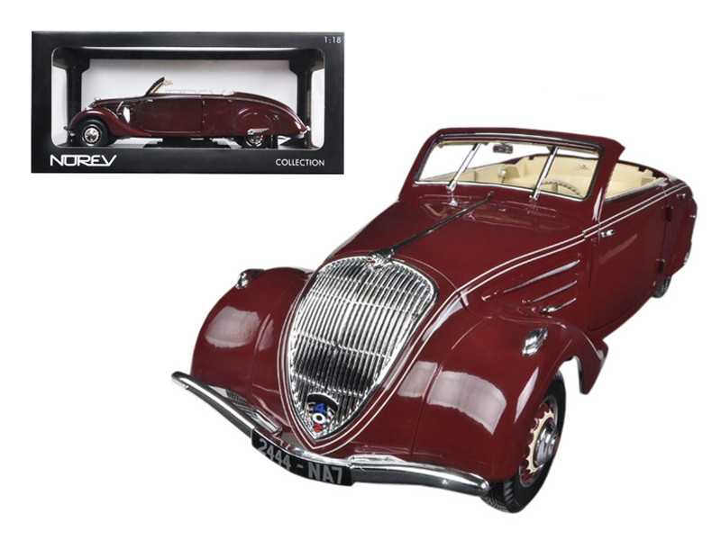 1937 Peugeot Eclipse 402 Dark Red With Retractable Top 1/18 Diecast Car Model Norev 184717