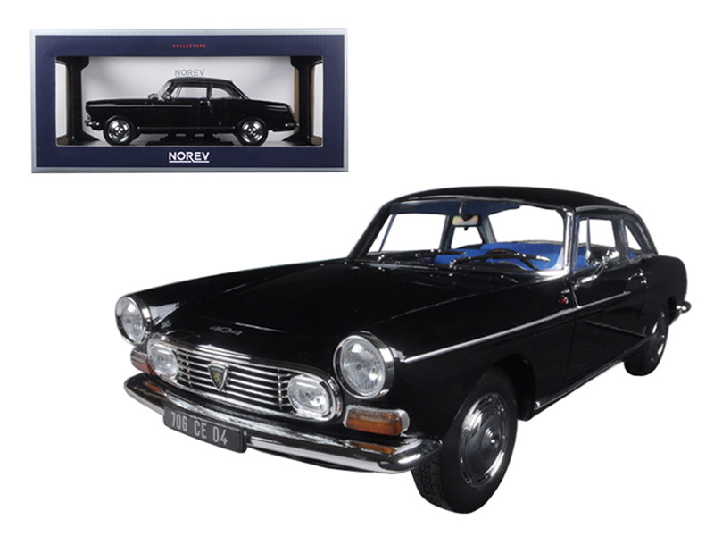1967 Peugeot 404 Coupe Black 1/18 Diecast Model Car Norev 184778