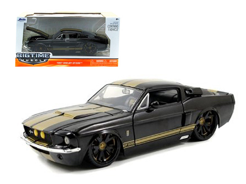 1967 Ford Shelby Mustang Gt-500 Black with Gold Stripes 1/24 Diecast Car Model Jada 90057