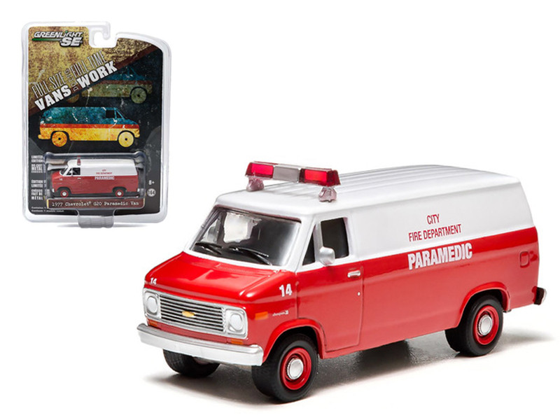 1977 Chevrolet G20 Van City Fire Department Hobby Exclusive 1/64 Diecast Car Model Greenlight 29781