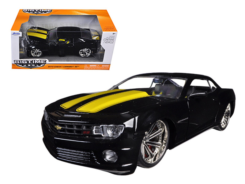 2010 Chevrolet Camaro SS Black With Yellow Stripes 1/24 Diecast Model Car Jada 96762