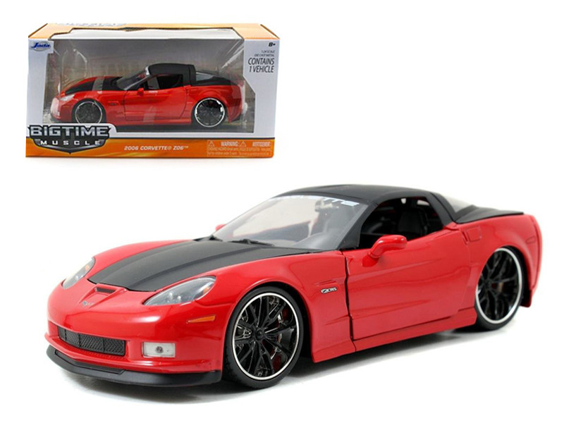 2006 Chevrolet Corvette Z06 Red 1/24 Diecast Car Model Jada 96804