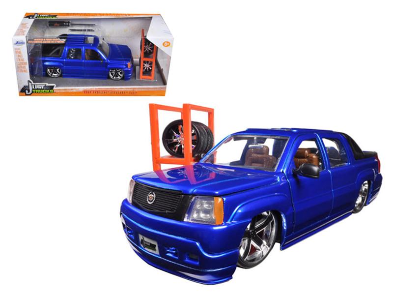 "2002 Cadillac Escalade EXT Blue ""Just Trucks"" with Extra Wheels 1/24 Diecast Car Model Jada 96831"