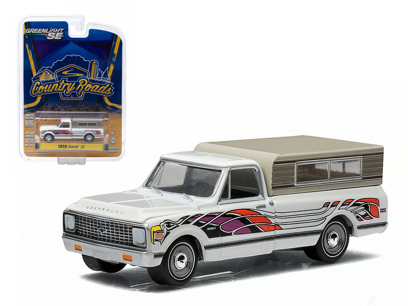 1972 Chevrolet C10 Eagle Mod Bod with Small Camper 1/64 Diecast Model Greenlight 29810 B