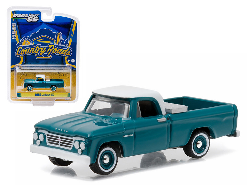 """1963 Dodge D-100 with Toolbox Pickup Truck \Country Roads\"""" Series 14 1/64 Diecast Model by Greenlight"""""""""""""""