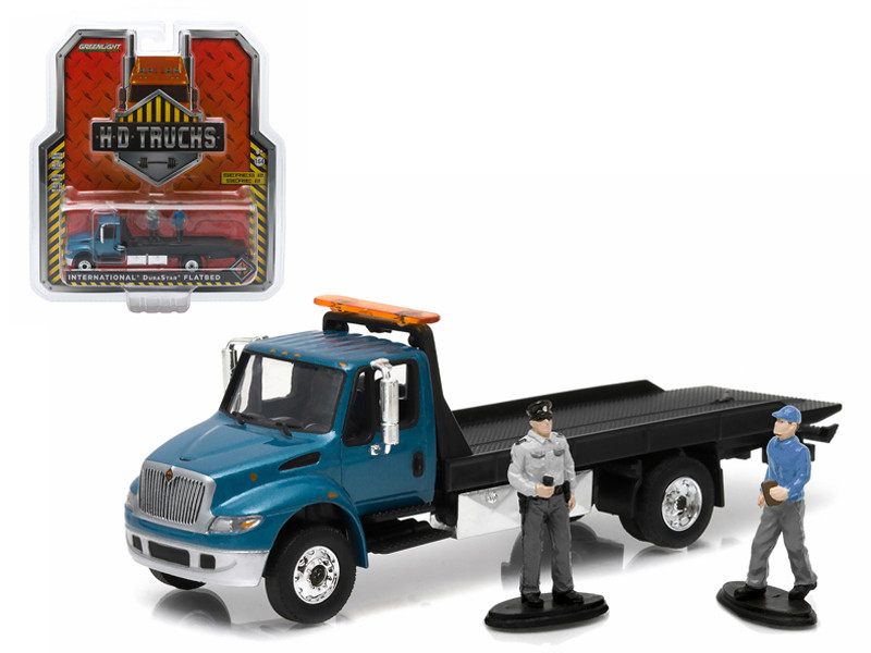 2013 International Durastar 4400 Flatbed Tow Truck With Tow Truck Driver and Police Figures Officer HD Trucks Series 2 1/64 Diecast Model by Greenlight
