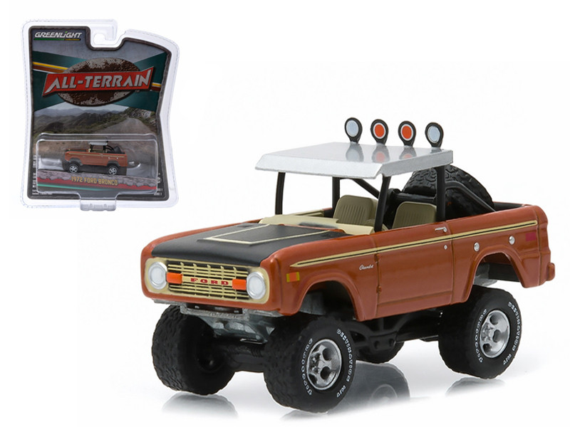 "1972 Ford Bronco Custom Copper Metallic ""All Terrain"" Series 1 1/64 Diecast Model Car Greenlight 35010 B"