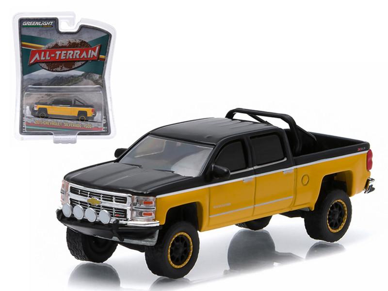"2015 Chevrolet Silverado 1500 Black and Yellow Pickup Truck ""All Terrain"" Series 2 1/64 Diecast Model Greenlight 35020 E"