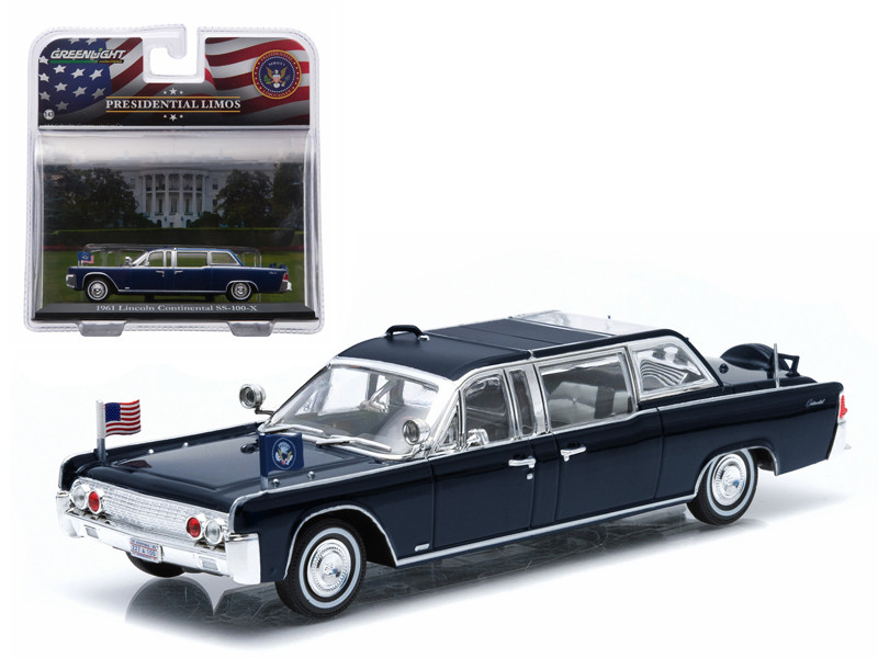 1961 Lincoln Continental SS-100-X John F. Kennedy Presidential Limousine 1/43 Diecast Model Car Greenlight 86110 A