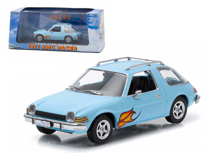 1977 AMC Pacer Light Blue with Flames Greenlight Exclusive 1/43 Diecast Model Car by Greenlight