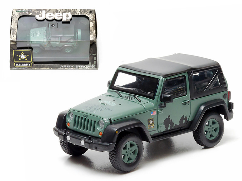 2012 Jeep Wrangler U.S. Army Hard Top Dark Green With Display Showcase 1/43 Diecast Model Greenlight 86043
