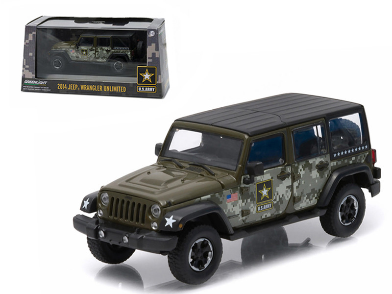 2014 Jeep Wrangler Unlimited U.S. Army Hard Top Dark Green With Display Showcase 1/43 Diecast Model Car Greenlight 86068