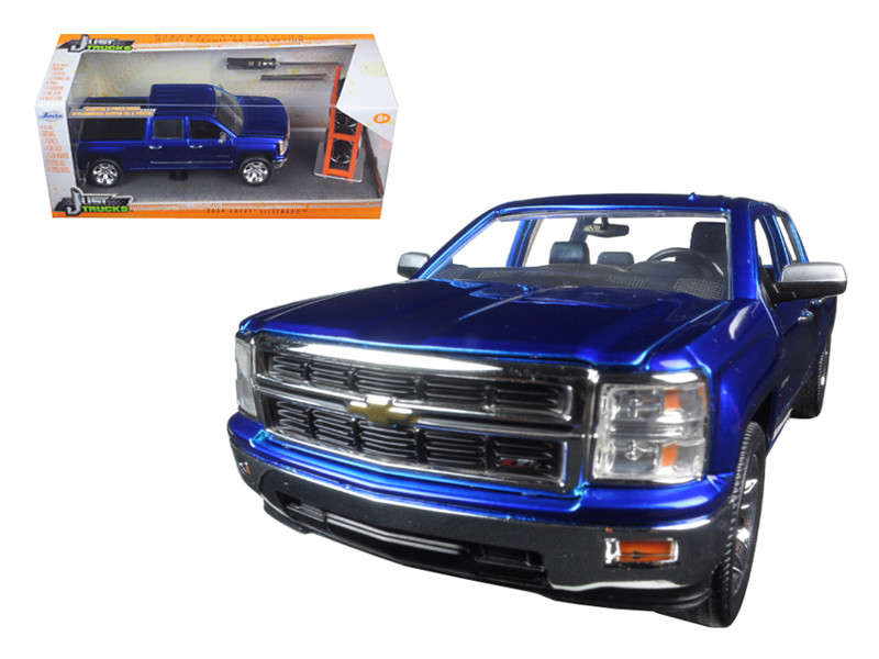 "2014 Chevrolet Silverado Pickup Truck Blue ""Just Trucks"" with Extra Wheels 1/24 Diecast Model Jada 97223"