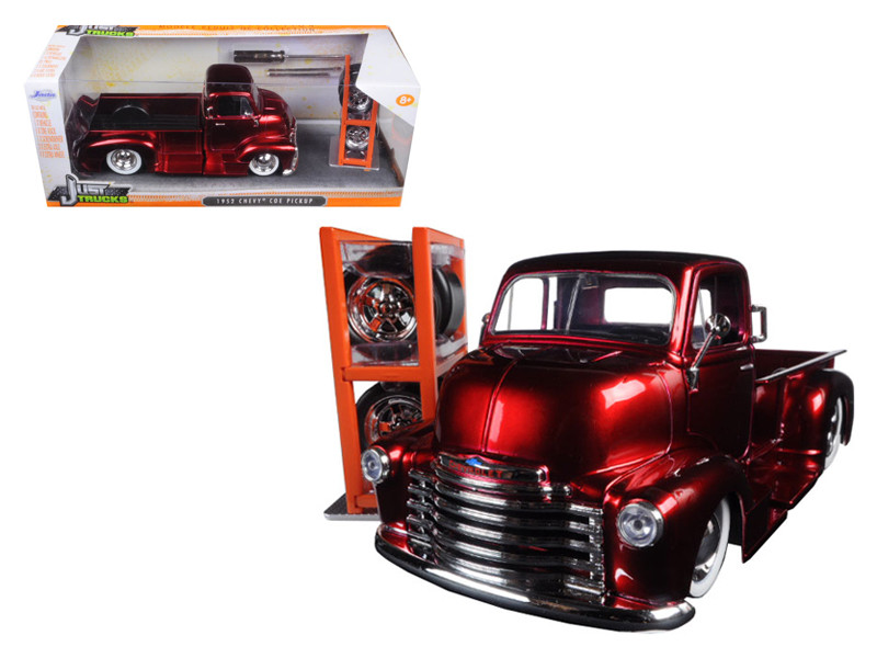 """1952 Chevrolet COE Pickup Truck Red """"Just Trucks"""" with Extra Wheels 1/24 Diecast Model by Jada"""