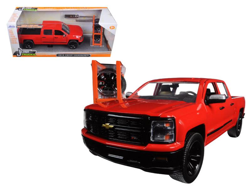 "2014 Chevrolet Silverado Pickup Truck Red ""Just Trucks"" with Extra Wheels 1/24 Diecast Model Jada 97227"