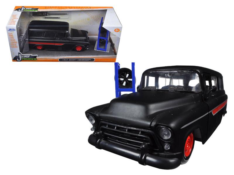 "1957 Chevrolet Suburban Matt Black / Red \Just Trucks\"""