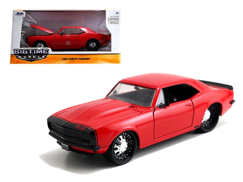 1967 Chevrolet Camaro Glossy Red / Matt Black 1/24 Diecast Model Car by Jada