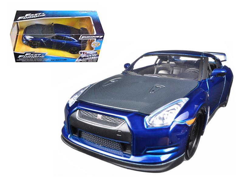 "Brian's 2009 Nissan GTR R35 Blue ""Fast & Furious 7"" Movie 1/24 Diecast Model Car Jada 97036"