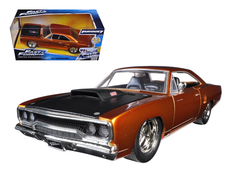 "Dom's 1970 Plymouth Road Runner Copper ""Fast & Furious 7"" Movie 1/24 Diecast Model Car Jada 97126"